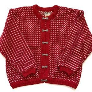 Vintage L.L. Bean Red Wool Birdseye Sweater